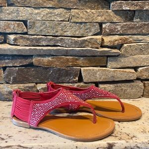 Red sandals with rhinestones